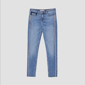 "Zara ""Mid Rise Jeans with Side Stripe"""
